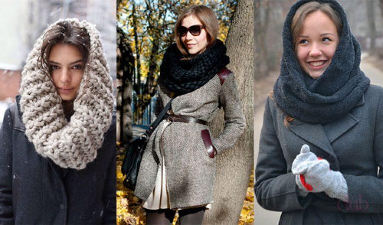 Как завязать теплый шарф на голове зимой