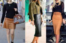 С чем лучше носить кожаную юбку карандаш